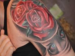 cool rose and eye on sleeve tattoo designs tattoo design ideas