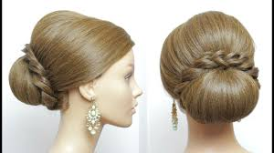 bridal hairstyle for long hair low bun updo with french braids
