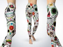 Jamaican Flag Leggings Sugar Skull Leggings Yoga Leggings Sugar Skull Yoga Pants