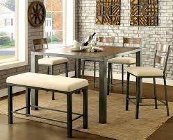 metal frame table and chairs furniture of america cm3686pt 6 pc jazlyn ii collection industrial