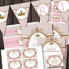 pink gold royal princess baby shower package banner
