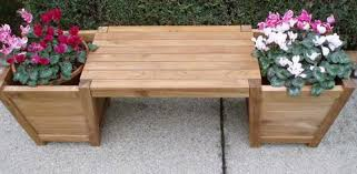 Garden Bench With Planters Teak Planter Boxes Teak Storage Containers By Classicteak
