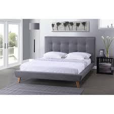 King Size Platform Bed Baxton Studio Jonesy Scandinavian Style Mid Century Grey Fabric