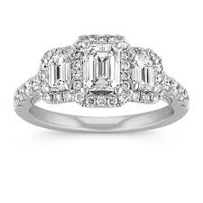 three emerald cut engagement rings vintage three emerald cut ring with pav eacute