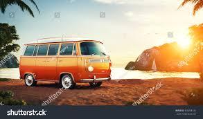 volkswagen bus beach cute retro car on summer beach stock illustration 428258134
