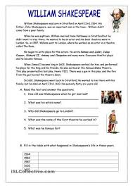 this is a reading worksheet about william shakespeare with simple