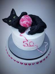 black cat 50th birthday cake cake by The sugar cloud cakery