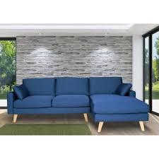 canapé d angle bois canapé d angle en tissu 4 places avec coussins et piètement bois