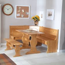 kitchen corner light brown wooden bench with orange fabric seat