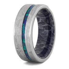 opal wedding ring crushed opal wedding band meteorite ring with mokume sleeve 3558