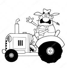 outlined farmer waving and driving a tractor u2014 stock photo