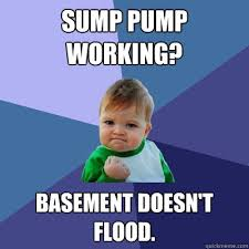 Flooded Basement Meme - sump pump working basement doesn t flood success kid quickmeme