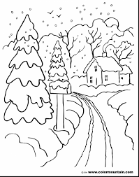 coloring pages winter landscape coloring page