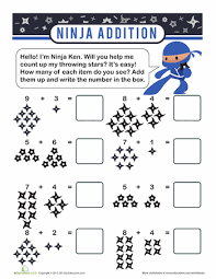 ninja addition kindergarten math worksheets kindergarten math