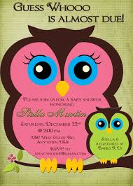 owl baby shower invitation boy or pink and green mom and baby