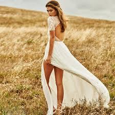 beach wedding dresses short sleeve keyhole back court train split