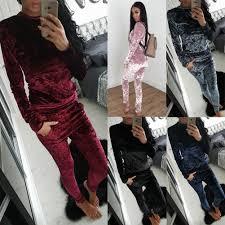 sweat suit jumpsuit womens crushed velvet tracksuit sweatshirt sets
