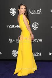 yellow satin one shoulder semi formal prom dress emily ratajkowski