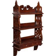 etagere legno mensola etagere a muro in legno massello di mogano finitura noce