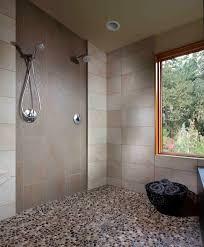 sacramento pebble shower floor bathroom rustic with tile oval drop