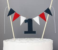 1 year old cake topper banner red white and navy blue first