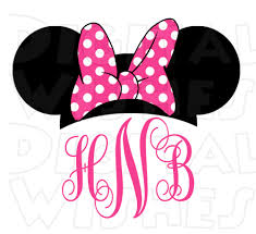 minnie mouse monogram monogram minnie mouse ears pink or personalized initials