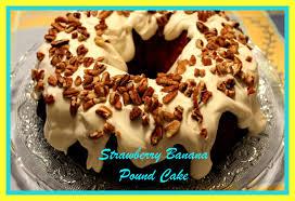sweet tea and cornbread strawberry banana pound cake with cream