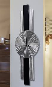 silver black metal wall clock modern contemporary metal wall art