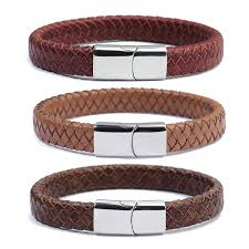 braided leather wrap bracelet images 2018 new red brown black 100 genuine braided leather wrap jpg