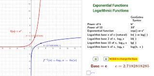exponential and logarithmic function graphs base u003e 1 geogebra