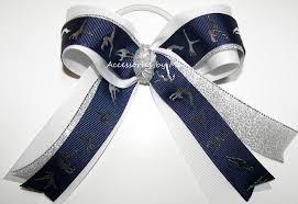 ribbon for hair that says gymnastics gymnastics ribbons navy blue white silver ponytail holder hair bow