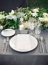 wedding table settings gray and white place settings steve steinhardt