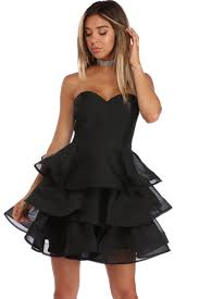 sammy black strapless tiered party dress