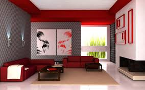 modern living room accented with bold red couches and gray and