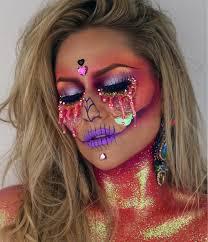 halloween makeup app holographic unicorn skull halloween makeup popsugar beauty