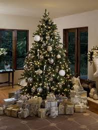 silver and gold decorations on every tree home design