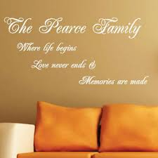 personalised family name wall sticker arts quotes words phrases