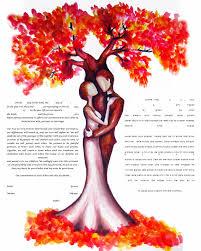 interfaith ketubah fall tree ketubah watercolor ketubah interfaith ketubah