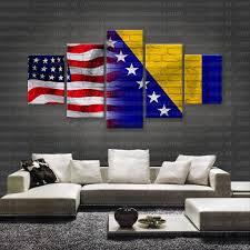 Flag Of Bosnia Hd Printed Limited Edition American Bosnian Bosnia Flag Canvas