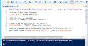how to create a subsite in sharepoint with powershell salaudeen