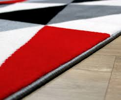 Red Round Rugs by New Soft Touch Diamond Pattern Black Red Grey White Modern Floor
