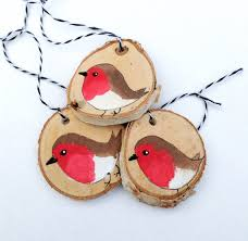 wood slice robin ornaments three by sailmakersdaughter