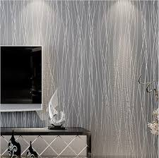 Grey Silver Sofa Non Woven Fashion Thin Flocking Vertical Stripes Wallpaper For