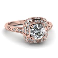 round square rings images Round cut square double halo diamond ring in 14k rose gold rose jpg