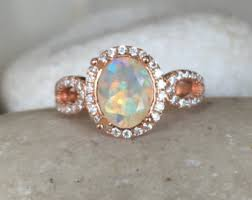 Opal Wedding Rings by Opal Engagement Ring Rose Gold Etsy