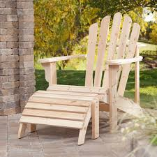 Adirondack Chair With Ottoman Weather Resistant Unfinished Fir Wood Adirondack Chair And Ottoman