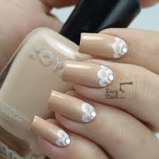 romantic bridal nail art one stroke half moon design nails