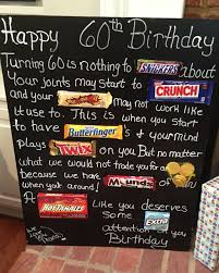 60th birthday party ideas age the hill 60th birthday card poster using candy bars