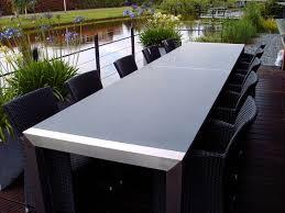 design gartentisch tischgestell design mit seitenlieger edelstahl 3000 x 1000 x 770