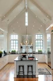 vaulted kitchen ceiling ideas lighting for cathedral ceilings track lighting installed to wash the